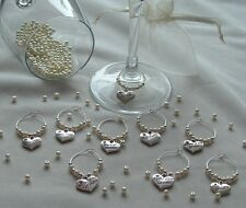 Wine Glass charms, Top Table Guests, bride groom bridesmaid etc wedding favours