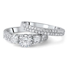 1.35 CTW Silver 3 Stone Pave Engagement Ring Wedding Band Set