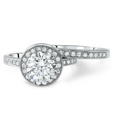 2.25 CTW Round Halo CZ Engagement Ring Bridal Set Sterling Silver
