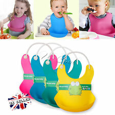 UK Solid Soft Silicone Waterproof Feeding Weaning Baby Bib Aprons For Boy Girl