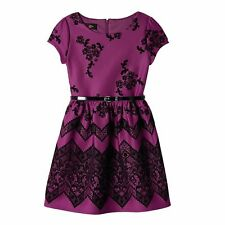 IZ AMY BYER Girl Plum Black Flocked Floral Belted Special Occasion Dress Size 10