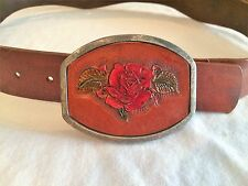 HAND TOOLED GENUINE LEATHER BELT FOR WOMEN, WITH TEXTURED RED ROSE DESIGN