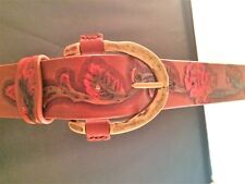 "GENUINE BROWN LEATHER BELT WITH HAND TOOLED RED ROSE DESIGN  1"" 1/2 WIDE"