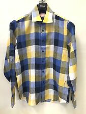 NWT Mens Inserch 100% Linen Casual Quality Shirt Summer Spring Plaid Blue Yellow