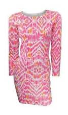 Marks & Spencer Pink & Coral Print Fitted Stretchy Tunic Dress with Long Sleeves
