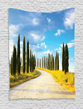 Earth Road between Trees Mediterranean Town Cultural Print Wall Hanging Tapestry