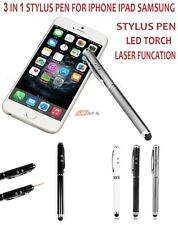 3 IN 1 STYLUS PEN FOR IPHONE IPAD SAMSUNG HTC TABLET + LED TORCH LASER   LIFAFA