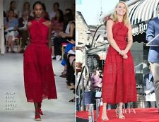 $2790 Oscar de la Renta RED Eyelet Lace broderie anglaise cotton MIDI DRESS 8