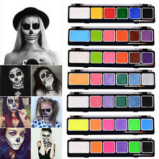 6 Colors Face Body Paint Pearl Fluorescent & Brush Painting Art Makeup Halloween