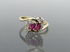 Vintage 14K Solid Yellow Gold Natural Ruby & Diamond Ring Size 6.5