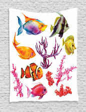 Tropical Fish Seaweed Coral Jellyfish Ocean Wildlife Print Wall Hanging Tapestry