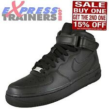 Nike Mens Air Force 1 Mid Classic Leather Trainers Black * AUTHENTIC *