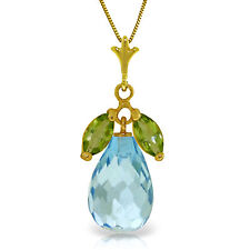 7.2 CTW 14K Solid gold fine Blue Topaz Peridot Necklace 16-24""