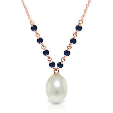 "14K Solid Rose gold fine Necklace 16-24"" w genuine Sapphires & pearl"