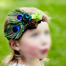 Unusal Girls Baby Feather Hairband with Cute Rose Headband 8 Colors L3