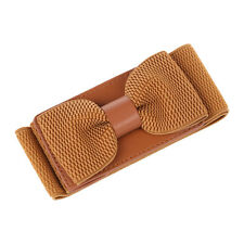 5X(Women's Wide Elastic Stretch Bowknot Bow Tie Belt Waistband (Brown)) L3