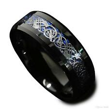 Celtic Dragon Silver Black Tungsten Carbide 8MM Wedding Band Anniversary Ring