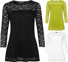 New Ladies Long Sleeve Soft Stretch Floral Lace  Lined Insert Womens Plus Top