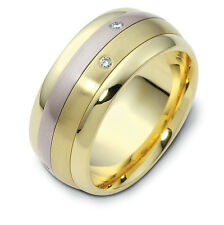 10K Two-Tone, Rolling Two Row 9MM Wedding Band, 1/10 cttw sz 4-14