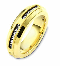 18K Two-Tone, Cable Twist 7MM Wedding Band sz 4-14