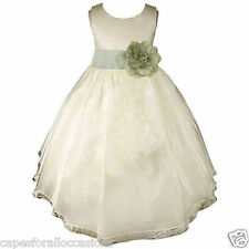 IVORY FLOWER GIRL DRESS ORGANZA EASTER COMMUNION PAGEANT RECITAL 18M 2 4 6 8 10