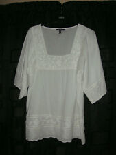 LONG TALL SALLY Pure White top embroidered with 3/4 sleeve size UK18  US 14