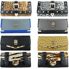 *CLEARANCE* Womens Purse Wallet Diamante Ostrich Leopard Clutch Gift Boxed