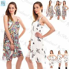 Womens Ladies Chiffon Camisole Printed Strappy Swing Sleeveless Vest Dress Tops