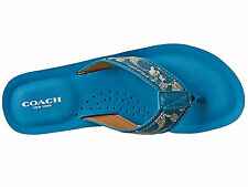 NEW Coach Judy Size 6.5 or 7 Teal Blue Signature Canvas Sandals Flip Flops Shoes