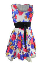 Topshop Red & Blue Print Sleeveless Dress Fit & Flare Full Skirt