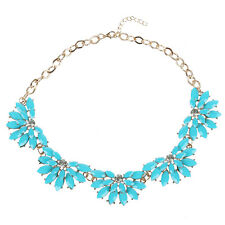 5X(Fashion Women Resin Acrylic Flower Bib Statement Collar Necklace Blue) L3
