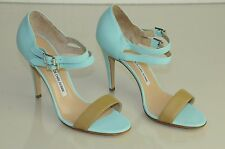$845 New Manolo Blahnik  Turquoise Tan Beige SOFTEST leather Sandals Shoes 37