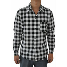 Mens Vintage Plaid Long Sleeve Shirt Slim Fit Shirts for Men L3
