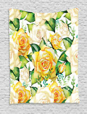 Roses Pattern Watercolor Paint Effect Ornate Wedding Decor Wall Hanging Tapestry