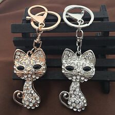 Rose Gold/Silver Tone Cute Cat Crystal Pendant Bag Purse Car Keychain Key Fob