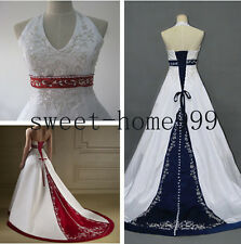 New  Red/blue Satin Wedding Dress Bridal Gown Stock Size 6 8 10 12 14 16 18
