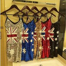 Australian flag sequined dress Fan big yards thin Slim package hip Europe