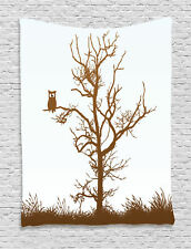 Cross-eyed Owl on a Fall Season Tree Branch Bird Art Print Wall Hanging Tapestry