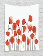 Poppy Flowers Blossom Art Decor Style Modern Floral Image Wall Hanging Tapestry