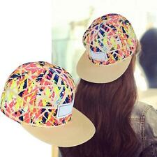 Womens Mens Floral Snapback Hip-Hop Hat Flat Peaked Adjustable Baseball Cap L