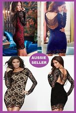 Sexy Lace Cocktail Mini Dress Party Club Evening Dress Beaded Back 3 Colours