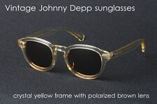 Vintage Johnny Depp polarized sunglasses mens yellow crystal frame brown lenses