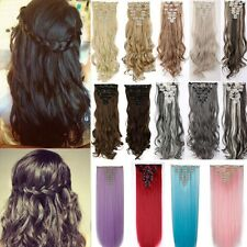 Natural Clip In Hair Extensions 8Pcs Full Head Real AS Human Long Blonde H729