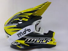 NEW WULFSPORT ADVANCE ADULT MOTOCROSS OFF ROAD YELLOW HELMET+X1 OFF WHITE GOGGLE