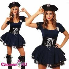 Ladies Womens Navy Blue Cop Police Costume Sexy Police Woman Uniform Fancy Dress