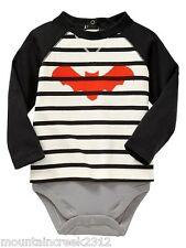 BABY GAP Bodysuit Size 3 6 months Layered Striped BAT Cotton One Piece NEW