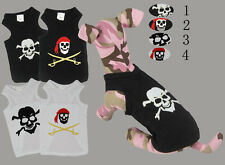 Skull design  small dog tank top, pirate skull vest , black & white 100% cotton