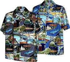 Route 66 Highway Vintage Cars and States Hawaiian Aloha Shirt (Made in Hawaii)