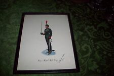 King's Royal Rifle Corps Lithograph Print Soldier Antique Military Uniform FRAME