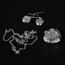 women lady silver Plated Fashion Beautiful cute Heart Necklace/Earrings JBCA